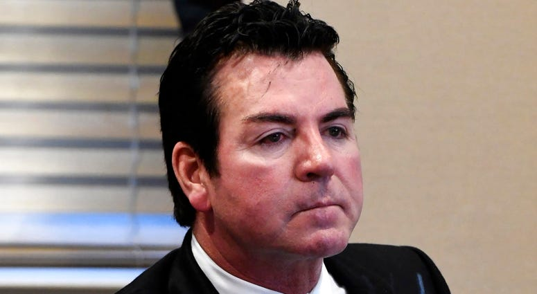 FILE - In this Wednesday, Oct. 18, 2017, file photo, Papa John's founder and CEO John Schnatter attends a meeting in Louisville, Ky.(AP Photo/Timothy D. Easley, File)