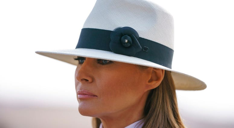 First lady Melania Trump pauses as she speaks to media during a visit to the historical Giza Pyramids site near Cairo, Egypt.  (AP Photo/Carolyn Kaster)