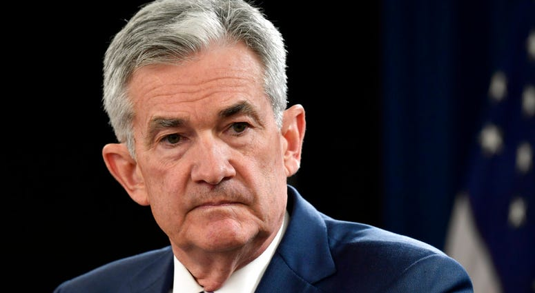 FILE- In this Sept. 26, 2018, file photo Federal Reserve Chairman Jerome Powell listens to a question during a news conference in Washington.  (AP Photo/Susan Walsh, File)