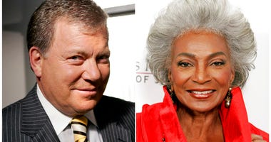 "This combination photo shows actor William Shatner on the set of ABC's ""Boston Legal"" in Manhattan Beach, Calif., on Sept. 13, 2004, left, and actress Nichelle Nichols attending an all-star tribute concert for jazz icon Herbie Hancock. (AP Photo)"