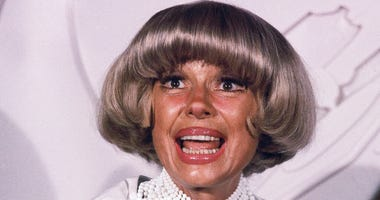 FILE - This June 19, 1978 file photo shows actress Carol Channing in New York. Channing, whose career spanned decades on Broadway and on television has died at age 97. (AP Photo/G. Paul Burnett, File )