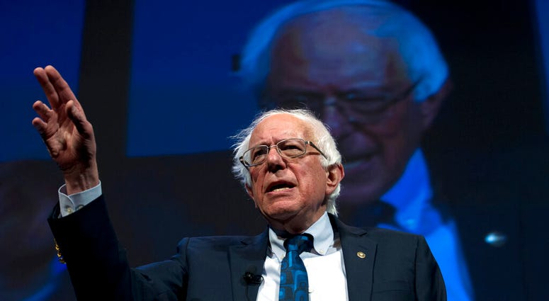In this April 1, 2019, file photo, Democratic presidential candidate Sen. Bernie Sanders, I-Vt., speaks during the We the People Membership Summit in Washington.   (AP Photo/Jose Luis Magana)