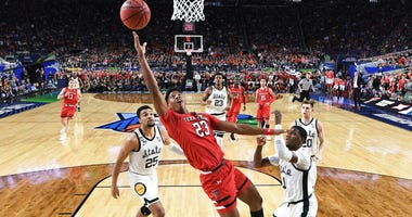 Texas Tech's Jarrett Culver (23) takes a shot during the first half in the semifinals of the Final Four NCAA college basketball tournament. (Brett Wilhelm/NCAA Photos via Getty Images via AP, Pool)
