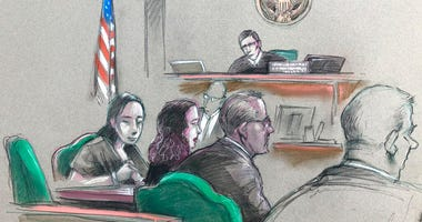 In this artist sketch, a Chinese woman, Yujing Zhang, left, listens to a hearing Monday, April 8, 2019, before federal Magistrate Judge William Matthewman in West Palm Beach. (Daniel Pontet via AP)