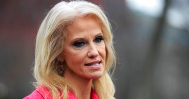 FILE - In this Feb. 22, 2019, file photo, counselor to the President Kellyanne Conway speaks to reporters outside the West Wing of the White House in Washington.   (AP Photo/Manuel Balce Ceneta, File)