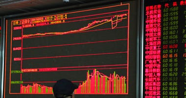An investor monitors prices at a stock brokerage in Beijing on Tuesday, April 23, 2019.  (AP Photo/Ng Han Guan)