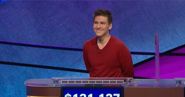 """FILE - This file image made from video and provided by Jeopardy Productions, Inc. shows """"Jeopardy!"""" contestant James Holzhauer on an episode that aired on April 17, 2019.  (Jeopardy Productions, Inc. via AP)"""
