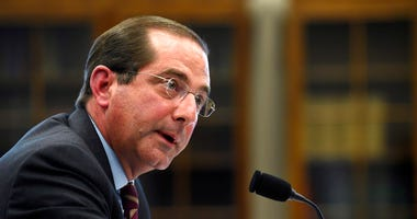 FILE - In this March 13, 2019, file phtooHealth and Human Services Secretary Alex Azar testifies before a House Appropriations subcommittee on Capitol Hill in Washington.  (AP Photo/Susan Walsh, File)