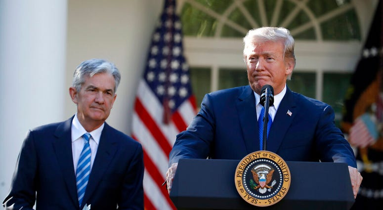 FILE - In this Nov. 2, 2017, file photo President Donald Trump announces Federal Reserve board member Jerome Powell as his nominee for the next chair of the Federal Reserve in the Rose Garden.   (AP Photo/Alex Brandon, File)