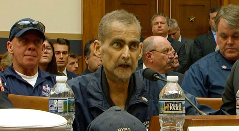 This still image taken from video shows Retired NYPD Detective and 9/11 Responder, Luis Alvarez speaks during a hearing by the House Judiciary Committee.   (US Network Pool via AP, Pool)