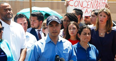 Rep. Joaquin Castro speaks alongside members of the Hispanic Caucus after touring inside of the Border Patrol station in Clint, Texas, Monday, July 1, 2019. (AP Photo/Cedar Attanasio)