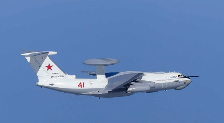 This image released by Joint Staff, Ministry of Defense, shows Russian A-50 airborne early warning and control aircraft flying near the Korean-controlled island called Takeshima in Japanese.  (Joint Staff, Ministry of Defense via AP)