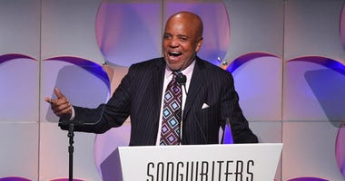 FILE - In this June 15, 2017, file photo, music mogul Berry Gordy accepts his award at the 48th Annual Songwriters Hall of Fame Induction and Awards Gala at the New York Marriott Marquis Hotel, in New York. (Photo by Evan Agostini/Invision/AP, File)