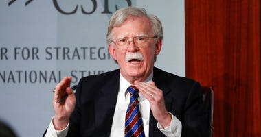 Former National security adviser John Bolton gestures while speakings at the Center for Strategic and International Studies in Washington, Monday, Sept. 30, 2019. (AP Photo/Pablo Martinez Monsivais)