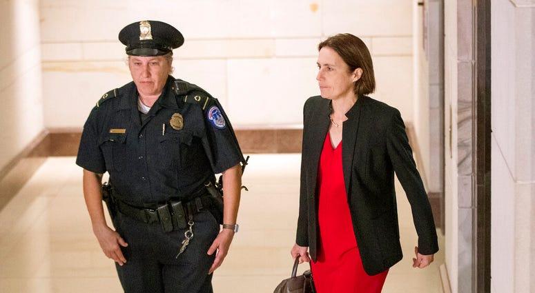 Former White House advisor on Russia, Fiona Hill, arrives on Capitol Hill in Washington, Monday, Oct. 14, 2019.  (AP Photo/Manuel Balce Ceneta)