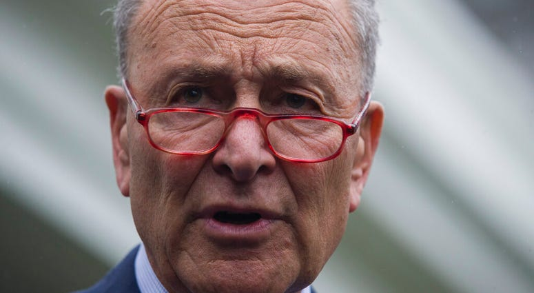 Senate Minority Leader Chuck Schumer of N.Y., speaks with reporters after a meeting with President Donald Trump at the White House, Wednesday, Oct. 16, 2019, in Washington. (AP Photo/Alex Brandon)