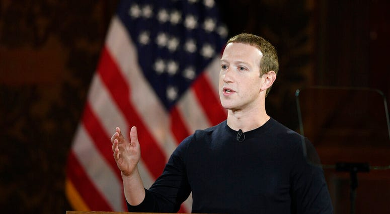 FILE - In this Oct. 17, 2019, file photo Facebook CEO Mark Zuckerberg speaks at Georgetown University in Washington. (AP Photo/Nick Wass, File)