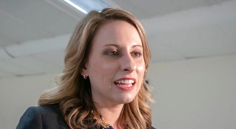 FILE - In this April 3, 2019, file photo, Rep. Katie Hill, D-Calif., talks on Capitol Hill in Washington. Hill says she's asked for an investigation into intimate photos she says were posted online without her consent. (AP Photo/J. Scott Applewhite, File)
