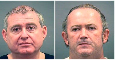 This combination of Oct. 9, 2019, photos provided by the Alexandria Sheriff's Office shows booking photos of Lev Parnas, left, and Igor Fruman. (Alexandria Sheriff's Office via AP, File)