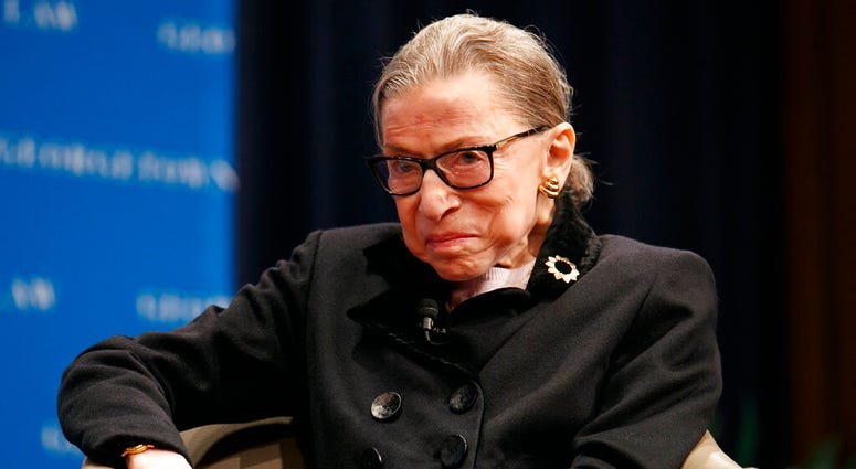 Supreme Court Justice Ruth Bader Ginsberg attends a panel with former President Bill Clinton and former Secretary of State Hillary Clinton, Wednesday, Oct. 30, 2019. (AP Photo/Jacquelyn Martin)