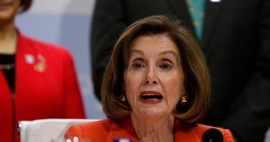 House Speaker Nancy Pelosi of Calif. speaks during a press conference at the COP25 climate talks summit in Madrid, Monday Dec. 2, 2019. (AP Photo/Andrea Comas)