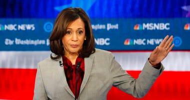 In this Nov. 20, 2019 file photo, Democratic presidential candidate Sen. Kamala Harris, D-Calif., speaks during a Democratic presidential primary debate in Atlanta.