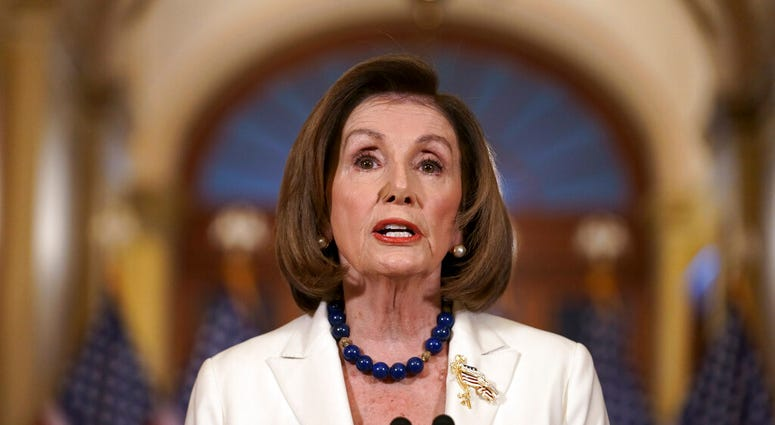 Speaker of the House Nancy Pelosi, D-Calif., makes a statement at the Capitol in Washington, Thursday, Dec. 5, 2019. Pelosi says the House is drafting articles of impeachment against President Donald Trump.   (AP Photo/J. Scott Applewhite)