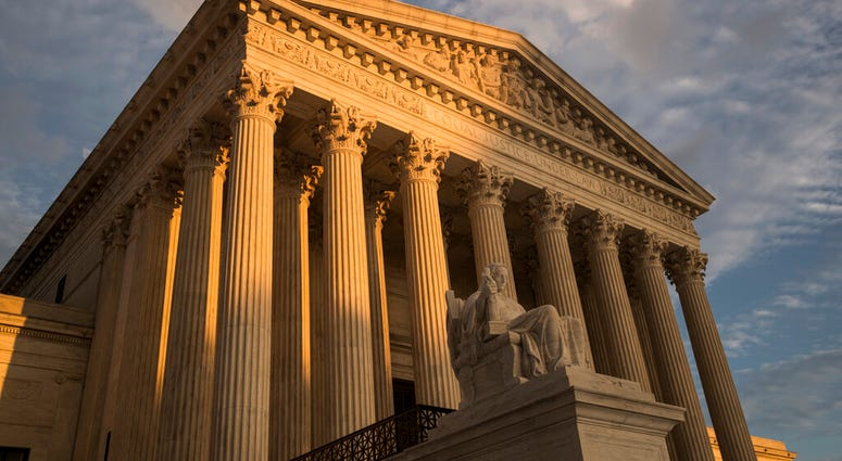 In this Oct. 10, 2017, file photo, the Supreme Court in Washington, at sunset. (AP Photo/J. Scott Applewhite, File)