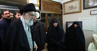 In this picture released by the official website of the office of the Iranian supreme leader, Supreme Leader Ayatollah Ali Khamenei meets family of Iranian Revolutionary Guard Gen. Qassem Soleimani.(Office of the Iranian Supreme Leader via AP)