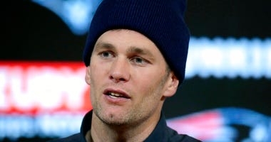 New England Patriots quarterback Tom Brady speaks to the media following an NFL wild-card playoff football game against the Tennessee Titans, Saturday, Jan. 4, 2020, in Foxborough, Mass. (AP Photo/Charles Krupa)