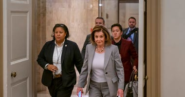 Speaker of the House Nancy Pelosi, D-Calif., arrives at the Capitol in Washington, Friday, Jan. 10, 2020.