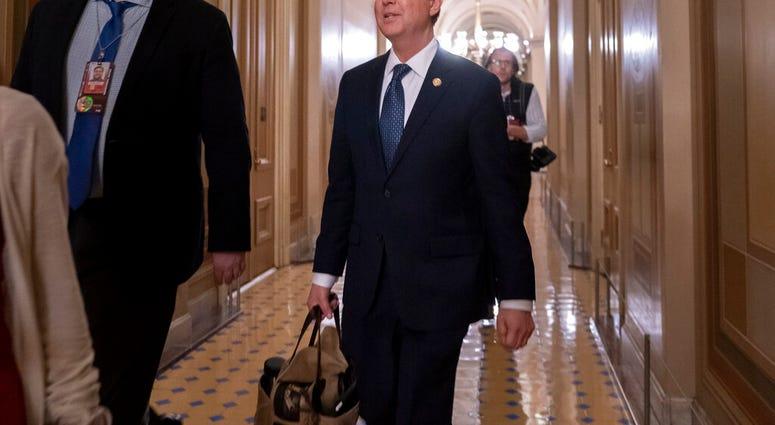 House Intelligence Committee Chairman Adam Schiff, D-Calif., departs the Capitol, late Wednesday, Jan. 22, 2020. (AP Photo/J. Scott Applewhite)