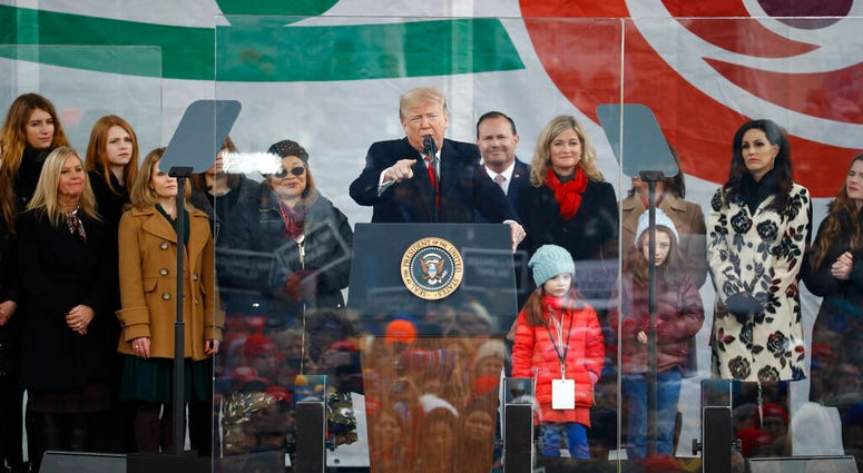 President Donald Trump speaks at a March for Life rally, Friday, Jan. 24, 2020, on the National Mall in Washington. (AP Photo/Patrick Semansky)