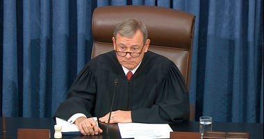 Presiding officer Chief Justice of the United States John Roberts listens during the impeachment trial against President Donald Trump in the Senate at the U.S. Capitol in Washington, Wednesday, Jan. 29, 2020. (Senate Television via AP)