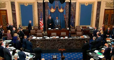 In this Wednesday, Jan. 29, 2020, file image from video, Senate chaplain and retired Navy Adm. Barry Black gives the opening prayer.  (Senate Television via AP, File)