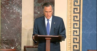 In this image from video, Sen. Mitt Romney, R-Utah, speaks on the Senate floor about the impeachment trial against President Donald Trump at the U.S. Capitol in Washington, Wednesday, Feb. 5, 2020. (Senate Television via AP)