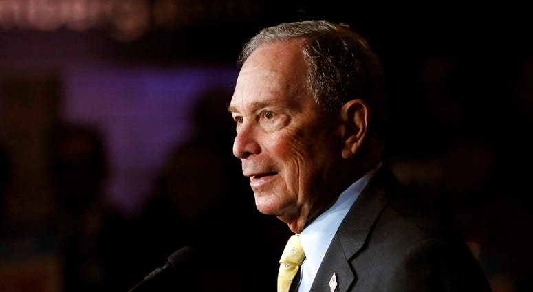 FILE - In this Tuesday, Feb. 4, 2020, file photo, Democratic presidential candidate and former New York City Mayor Michael Bloomberg talks to supporters, in Detroit. (AP Photo/Carlos Osorio, File)