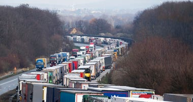 Trucks are jammed on the motorway A4 near Bautzen, Germany, Tuesday, March 17, 2020. Because of the controls at the border with Poland