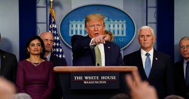 President Donald Trump speaks during a press briefing with the coronavirus task force, at the White House, Tuesday, March 17, 2020, in Washington. (AP Photo/Evan Vucci)