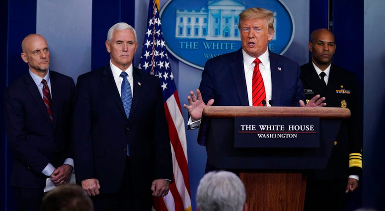 President Donald Trump speaks during press briefing with the coronavirus task force, at the White House, Thursday, March 19, 2020, in Washington. (AP Photo/Evan Vucci)