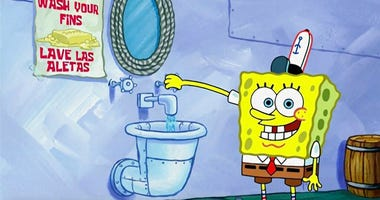 This image released by Nickelodeon shows animated character SpongeBob SquarePants demonstrating effective handwashing in a video to be shown on Nickelodeon's cable and digital platforms.