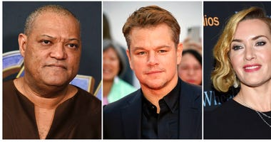 "This combination photo shows actors, from left, Laurence Fishburne, Matt Damon and Kate Winslet, who are among the stars of the 2011 thriller ""Contagion"" who have reunited for a series of public service announcements to warn about COVID-19."