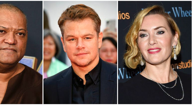 """This combination photo shows actors, from left, Laurence Fishburne, Matt Damon and Kate Winslet, who are among the stars of the 2011 thriller """"Contagion"""" who have reunited for a series of public service announcements to warn about COVID-19."""
