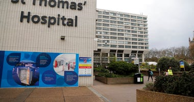 A view of St Thomas' Hospital in Westminster where Britain's Prime Minister Boris Johnson is undergoing tests after suffering from coronavirus symptoms, in London, Monday, April 6, 2020. (AP Photo/Frank Augstein)