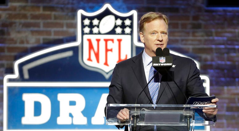 FILE - In this April 25, 2019, file photo, NFL Commissioner Roger Goodell speaks ahead of the first round at the NFL football draft in Nashville, Tenn.  (AP Photo/Steve Helber, FIle)