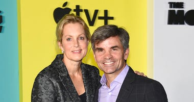 """FILE - In this Oct. 28, 2019 file photo Ali Wentworth, left, and her husband George Stephanopoulos attend the world premiere of Apple TV+'s """"The Morning Show"""" in New York. (Photo by Evan Agostini/Invision/AP, File)"""