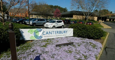 This Friday March 27, 2020 file photo shows the Canterbury Rehabilitation & Healthcare Center in Richmond, Va. (AP Photo/Steve Helber, File)