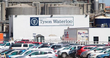 A Tyson Fresh Meats plant stands in Waterloo, Iowa, date not known.  (Jeff Reinitz/The Courier via AP)
