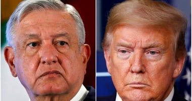 This combination of file photos shows Mexican President Andres Manuel Lopez Obrador, left, on Nov. 29, 2019, in Mexico City and President Donald Trump on April 17, 2020, in Washington.  (AP File Photo)