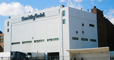 This April 8, 2020, file photo shows the Smithfield pork processing plant in Sioux Falls, S.D., where health officials reported dozens employees have confirmed cases of the coronavirus infection. (AP Photo/Stephen Groves, File)